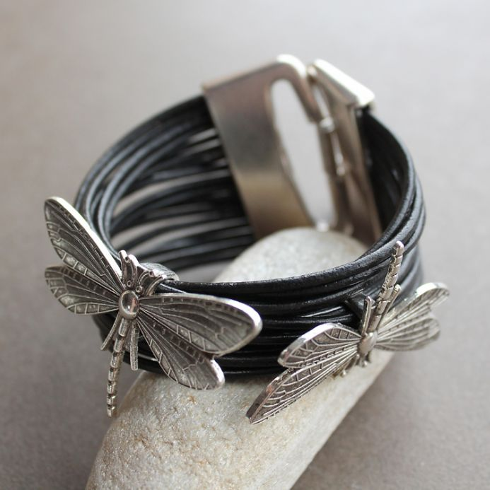 Black leather bracelet with dragonfly charms